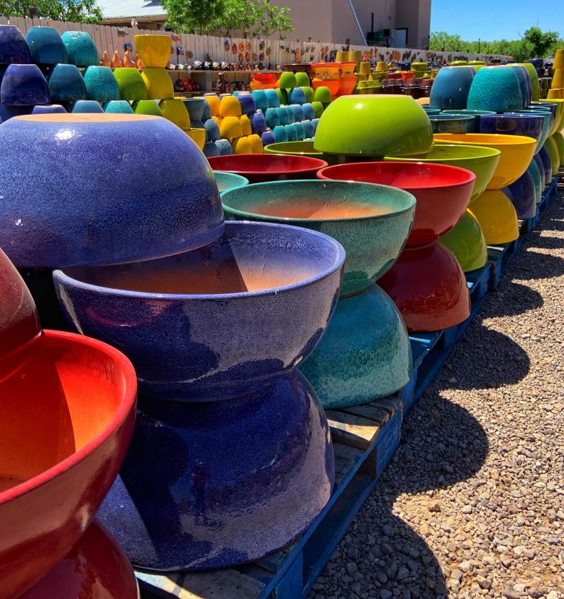 Colorful Mexican glazed planters