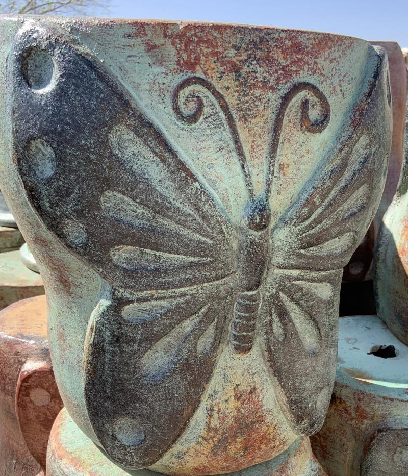 mexican clay pot - butterly