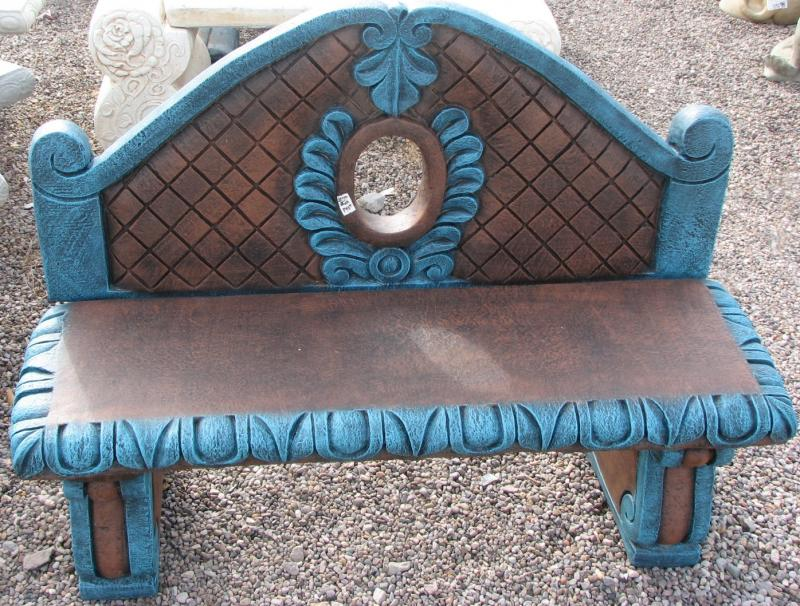 brown turquoise bench with back