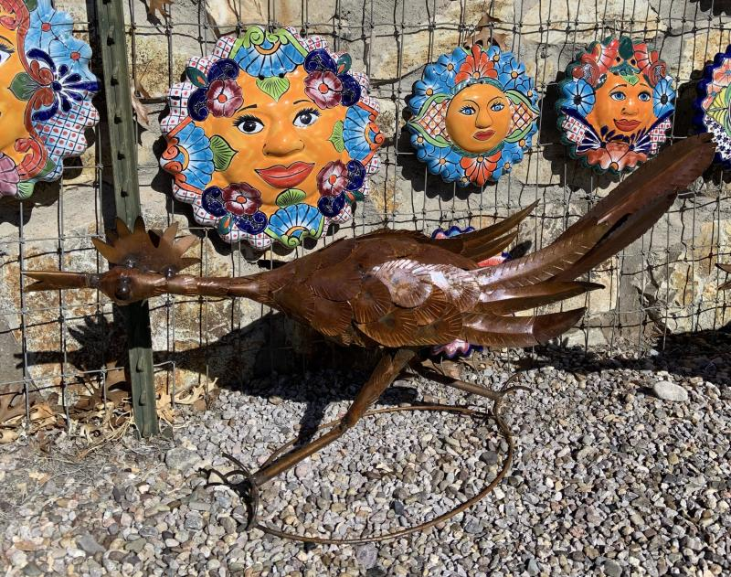 metal yard art road runner natural