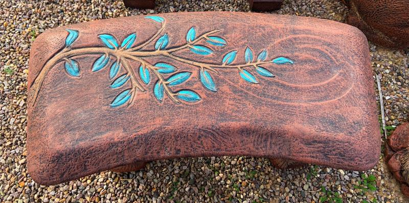 branch turquoise leaf bench
