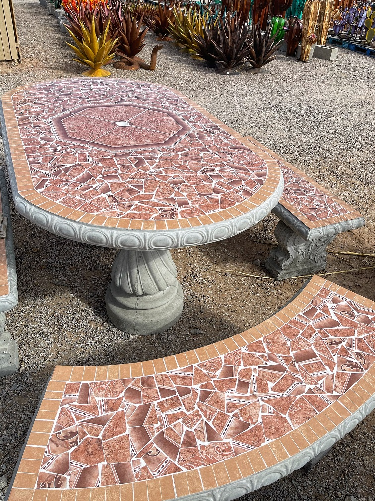 brown oval garden tile table with benches