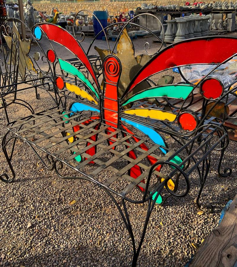 metal butterfly outdoor bench