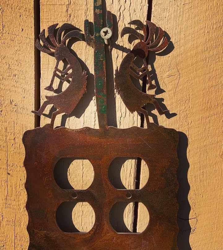 kokopelli saguaro steel outlet cover