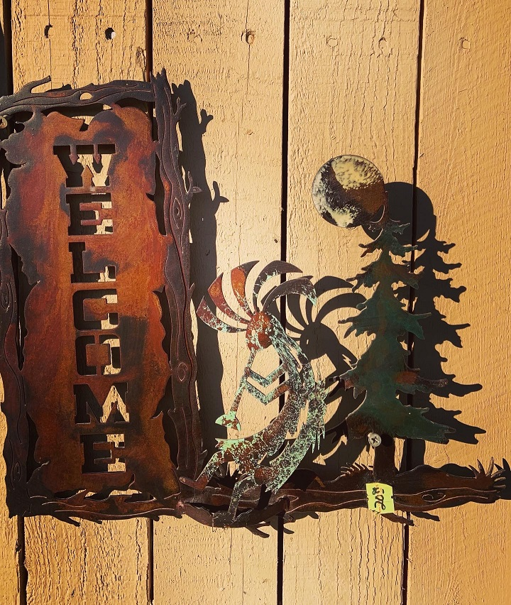 handmade kokopelli pine steel welcome sign