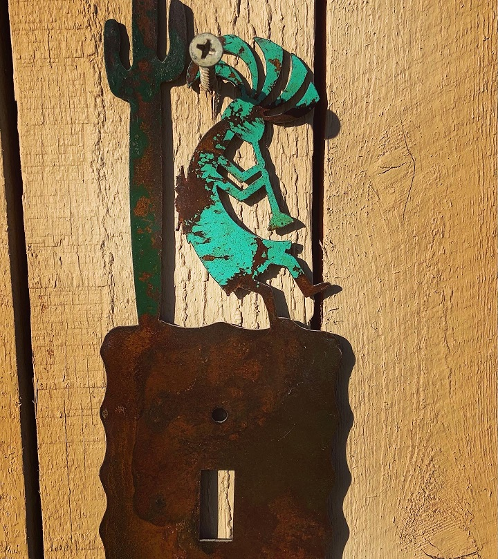 handmade kokopelli saguaro single steel switch plate cover
