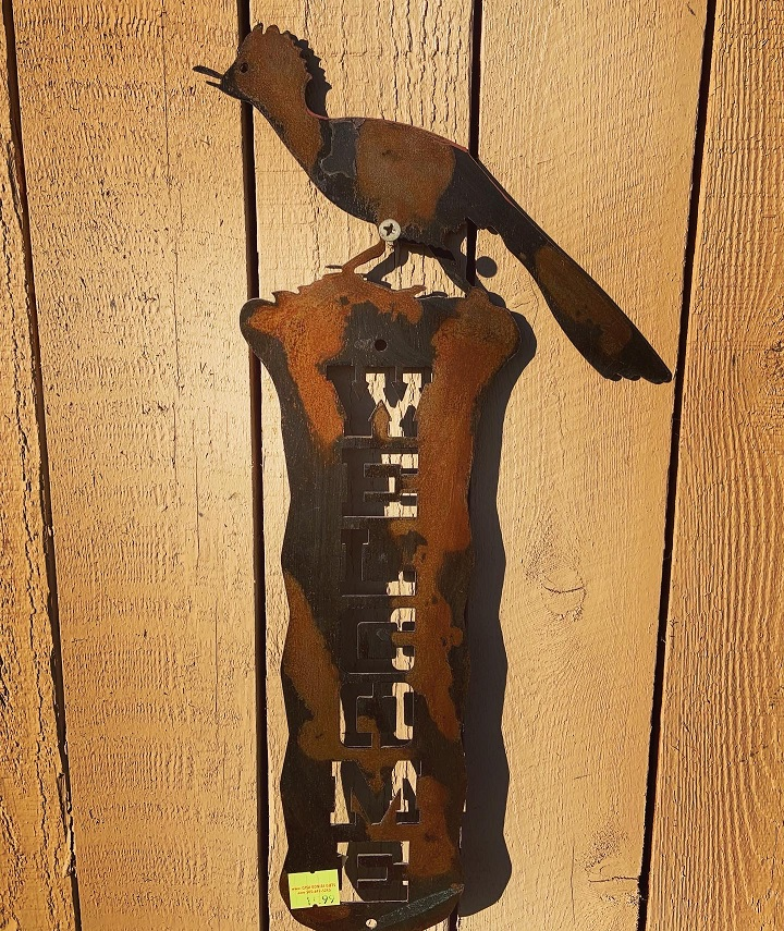 handmade roadrunner steel welcome sign