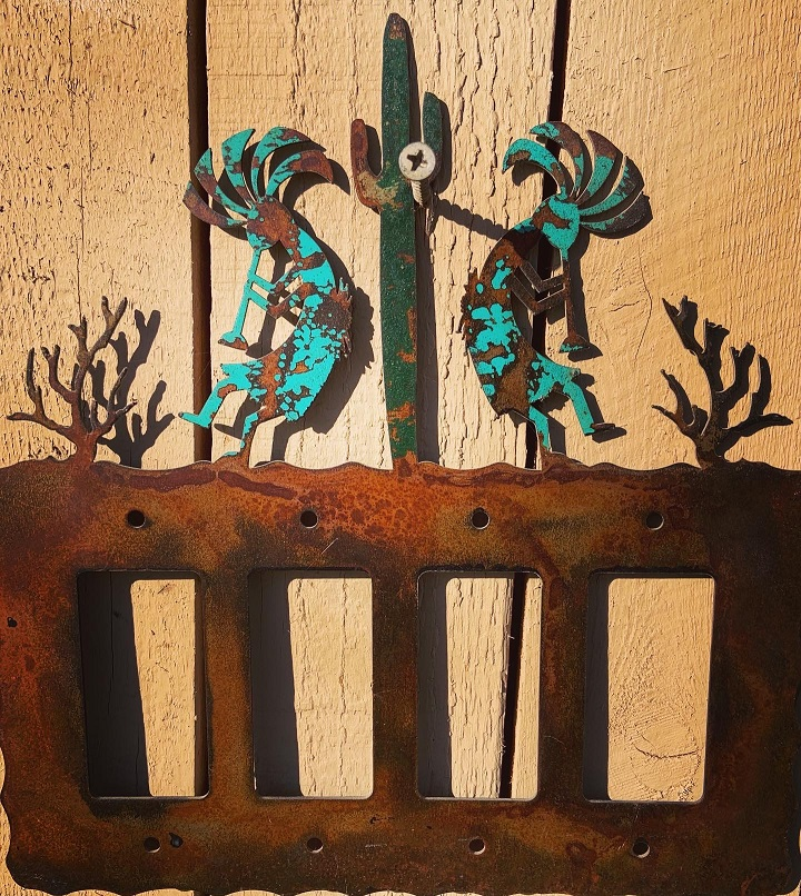 handmade kokopelli cactus switch plate cover