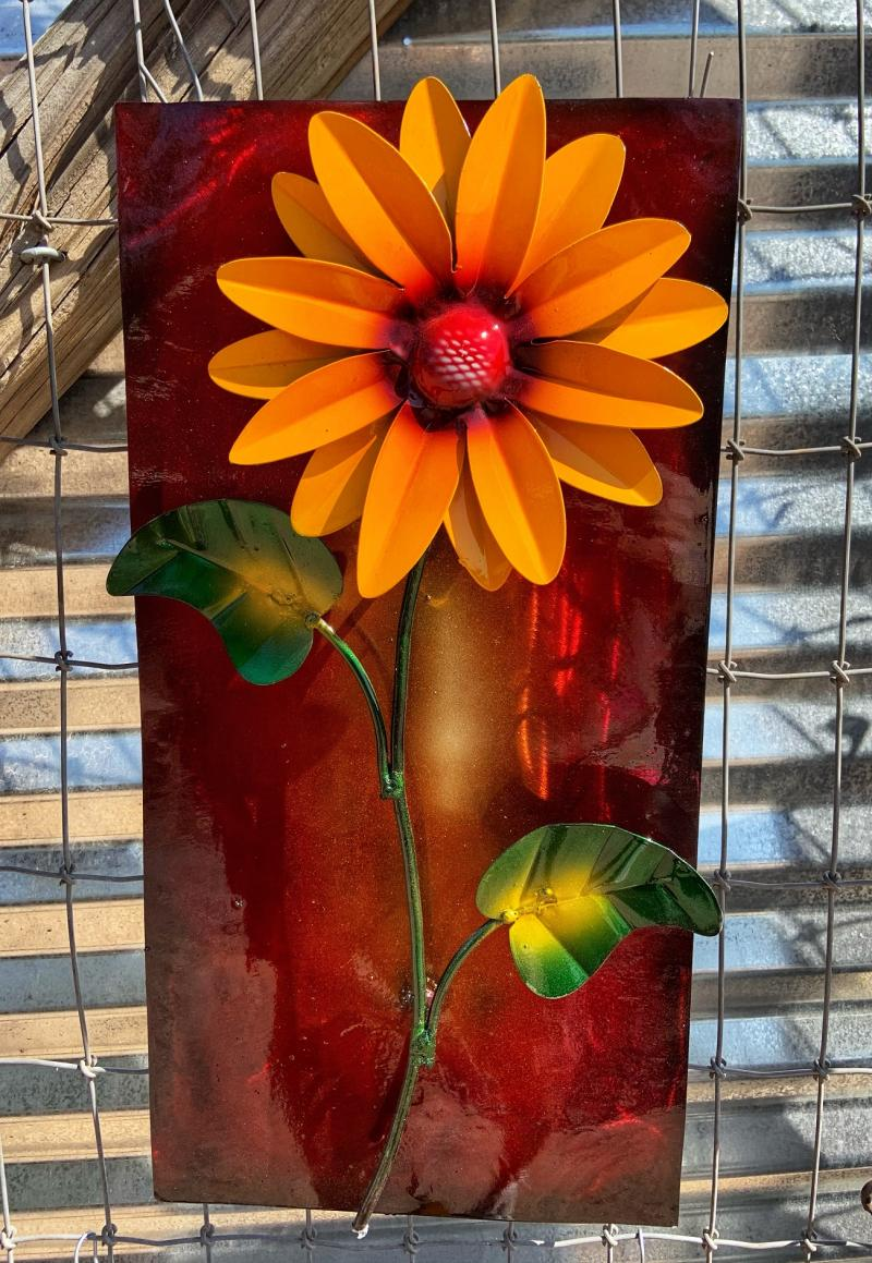handcrafted metal sunflower frame