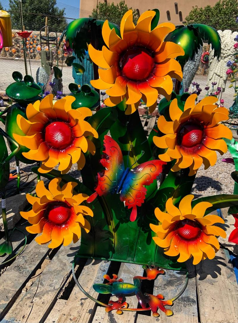 handcrafted metal sunflowers with butterfly