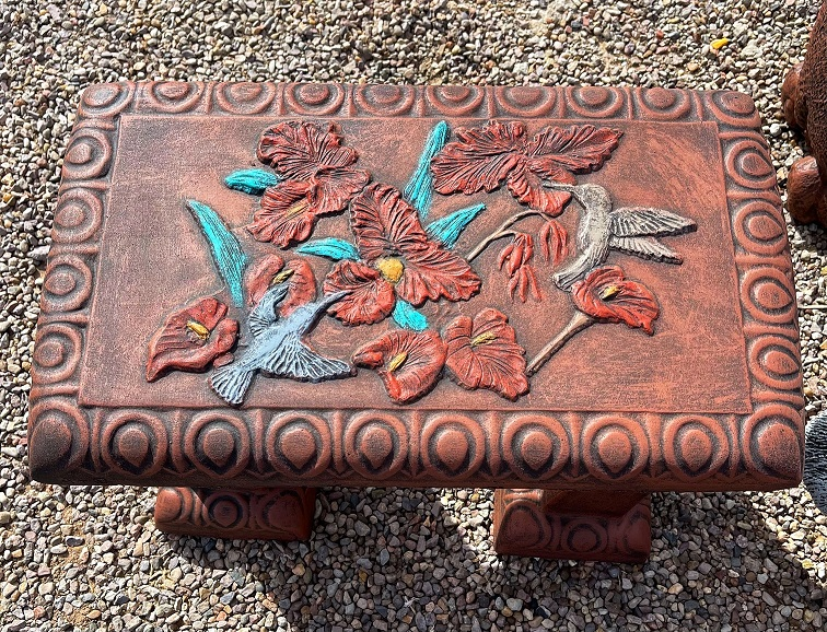 hand painted hummingbird garden bench
