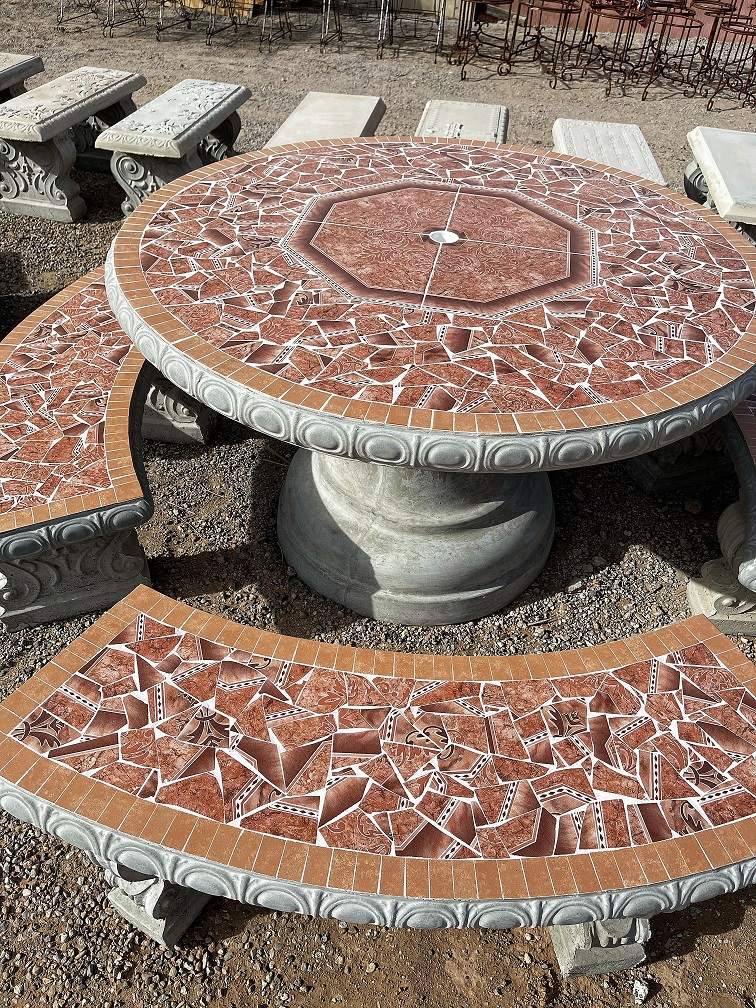 large brown round garden tile table with benches