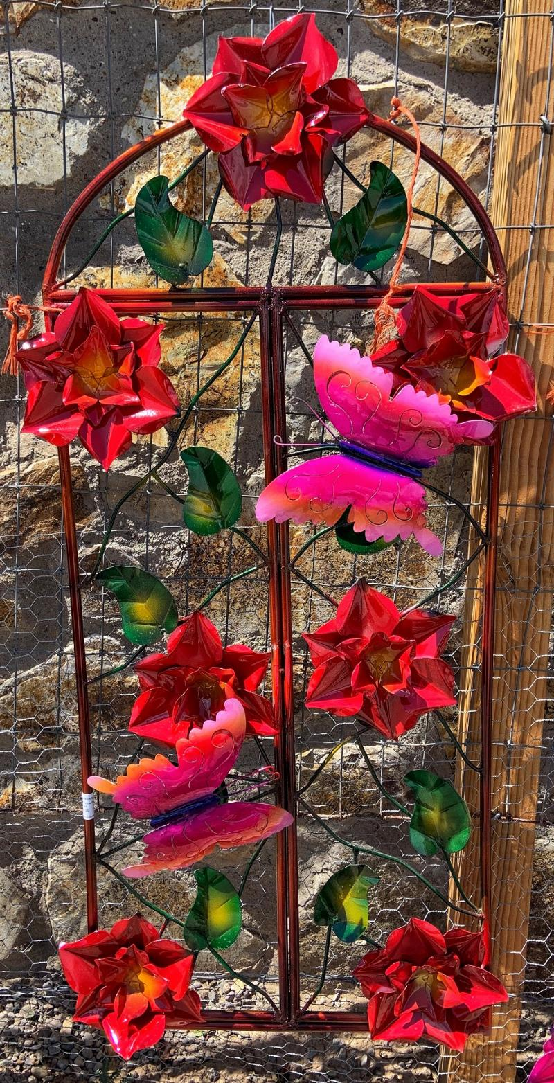 metal yard art red flower window frame