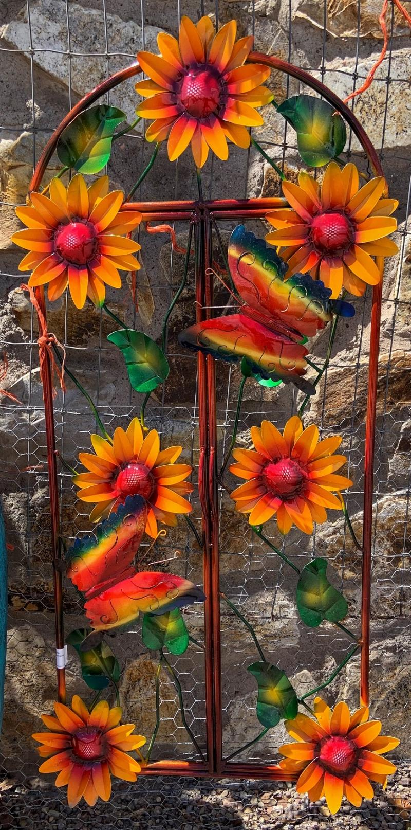 metal yard art sunflower window frame