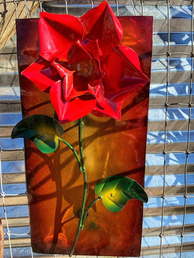 metal rose frame wall art
