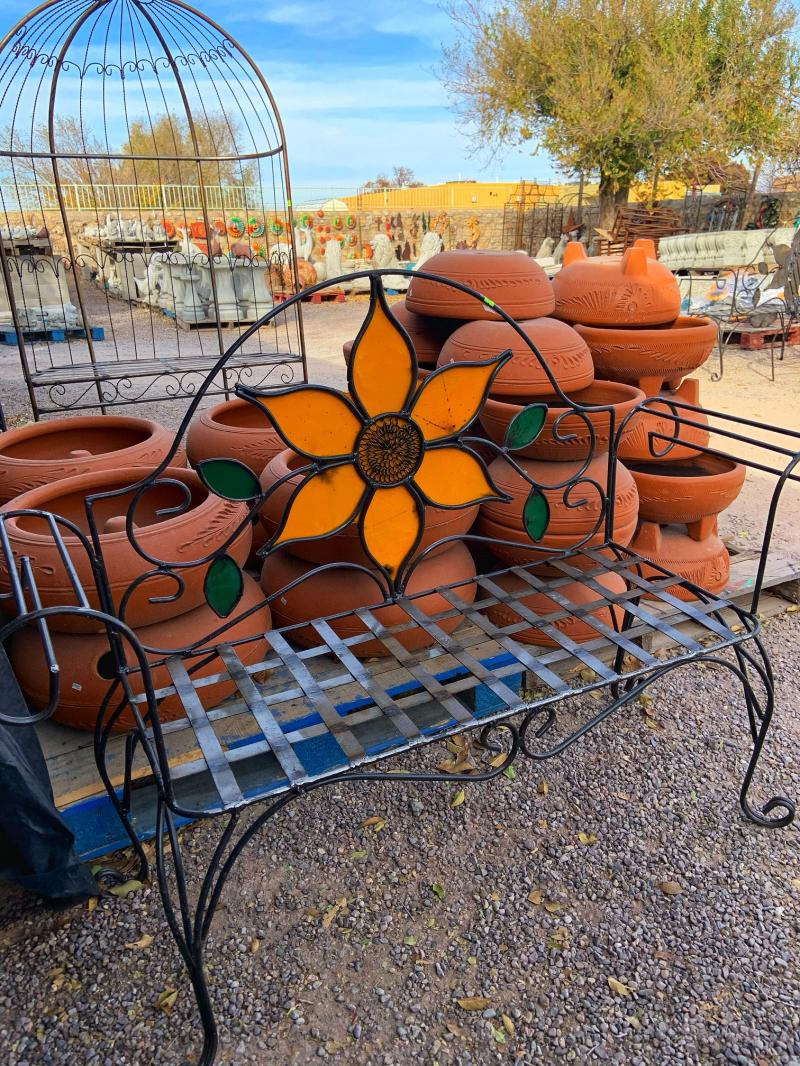 metal sunflower garden bench