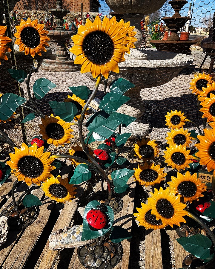 sunflowers with ladybugs metal art