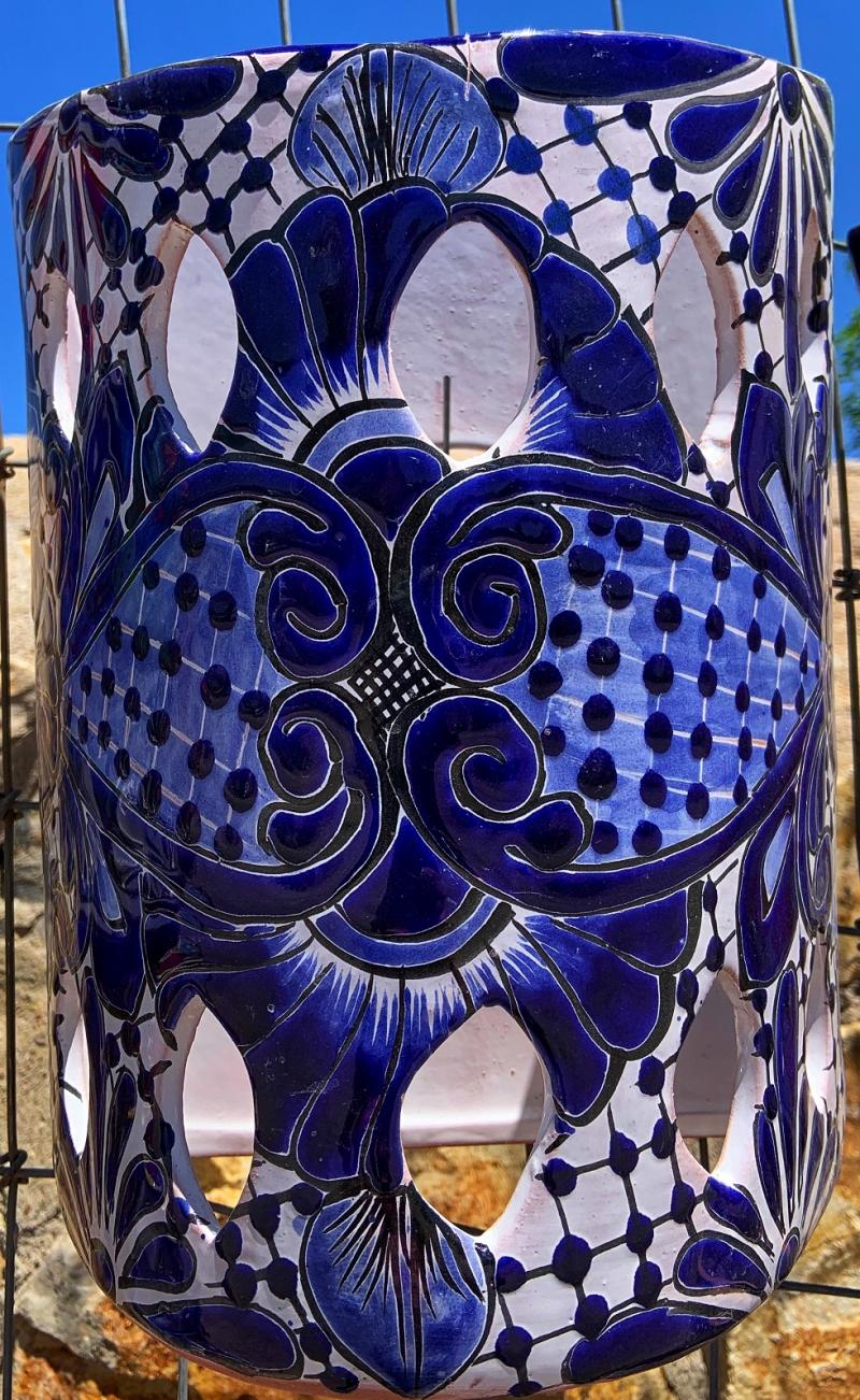 talavera blue and white sconce