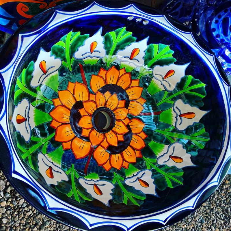talavera sink-lillies and sunflowers