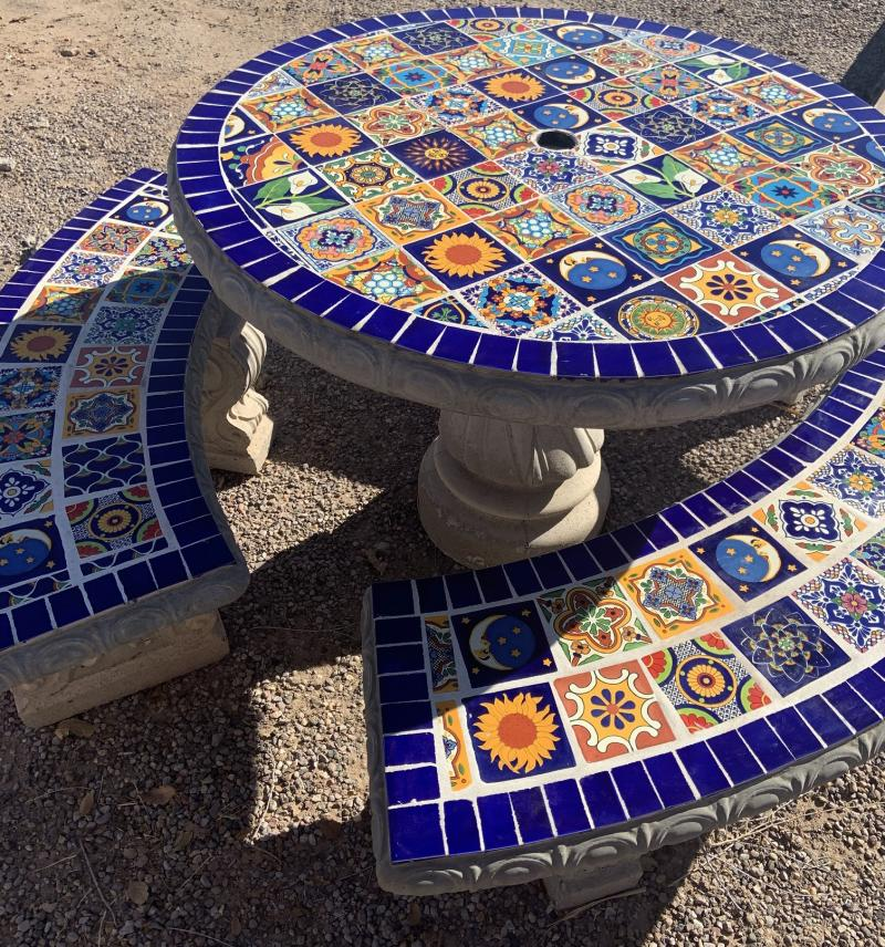 talavera tile table multiple colors with blue edge