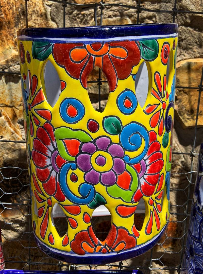 talavera yellow sconce with flowers