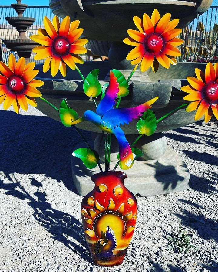 vase with sunflowers and hummingbird metal wall art
